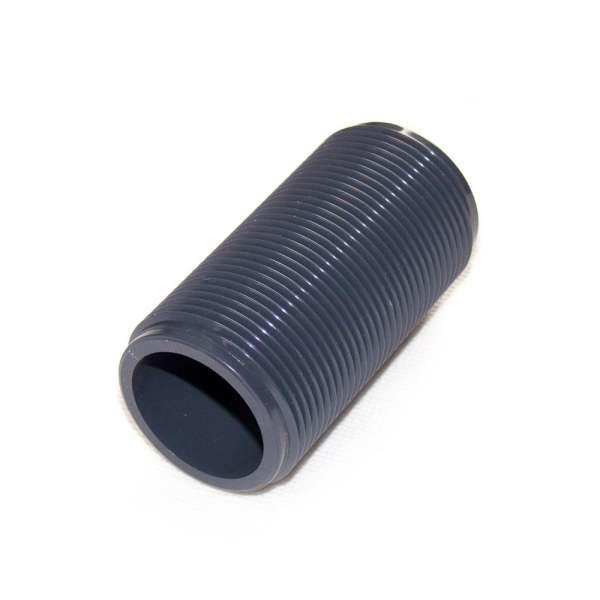 Gewinderohr G 1 1/4 Zoll x 80mm Länge aus PVC Kunststoff als Tankanschluss