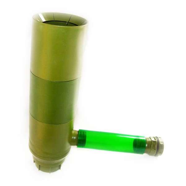 Regensammler RG 100F in grün für Fallrohre DN 100 mm mit Füllautomatik und Laubabscheider