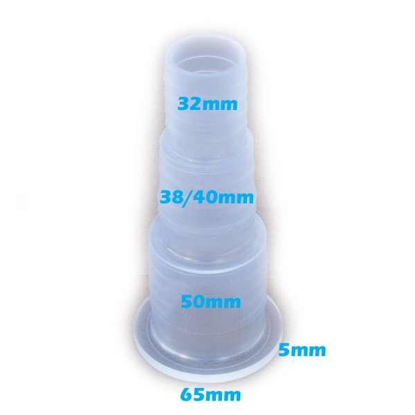 Stufenschlauchanschluss 65, 50, 40, 38 und 32 mm transparent