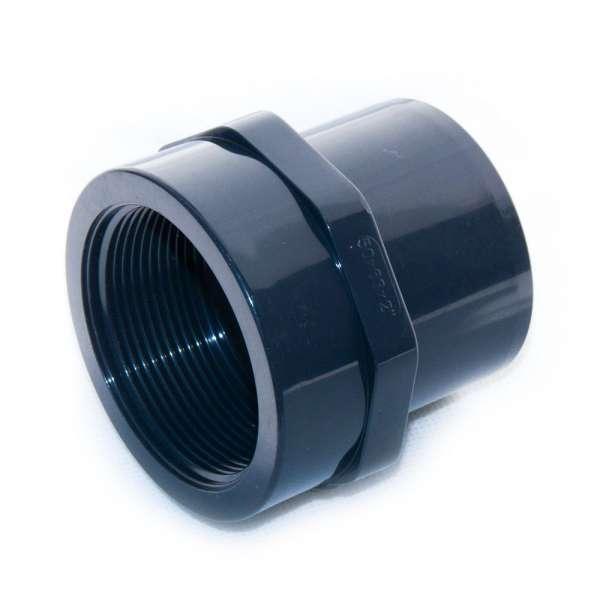 """PVC Schraubmuffe G2"""" Gewinde und 50 x 63 mm Durchmesser"""