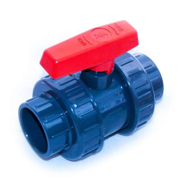 Kugelhahn aus PVC für 50 mm Fittinge zum Einkleben