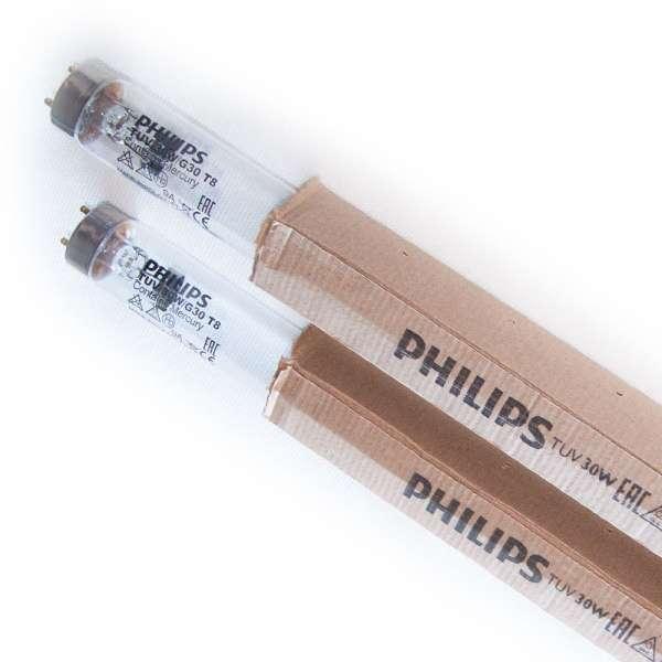 2 Stück Set UVC Ersatzlampen Philips 30 Watt für TL UV Klärer TUV 30W G30 T8