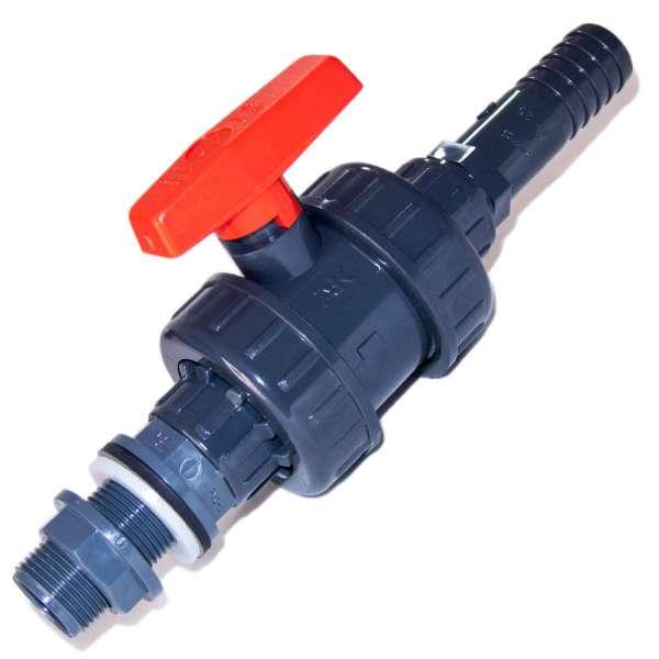 25 mm Ablasshahn aus PVC-U mit Verschraubung