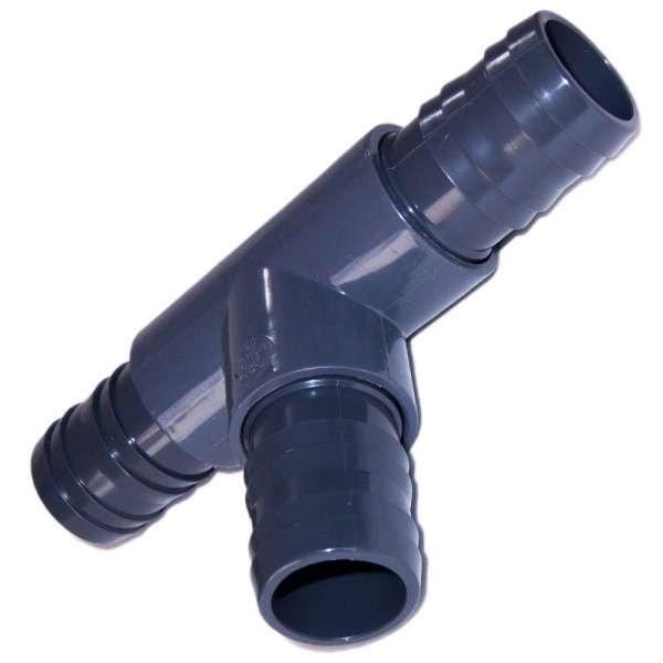 T-Verbinder aus PVC-U mit 40 mm Schlauchanschlüssen