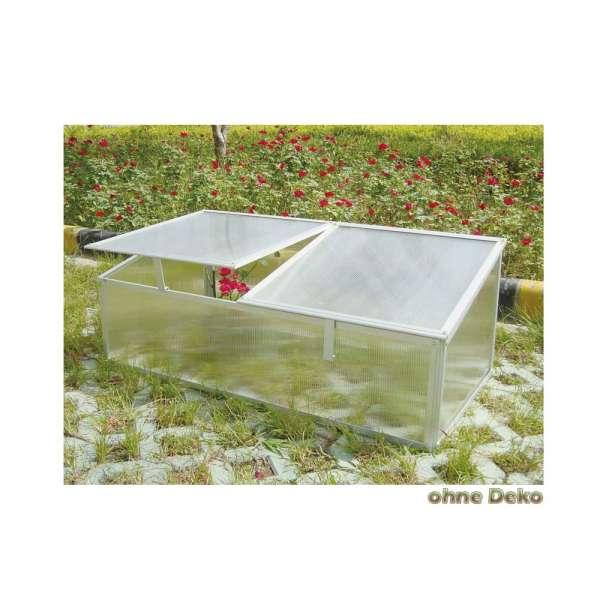 Frühbeet C202 mit geteiltem Deckel aus Aluminium und Hohlkammerplatten auch für Schildkröten