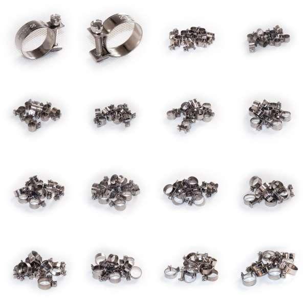 Spannbackenschellen oder Mini Schlauchschellen in W4 Edelstahl rostfrei