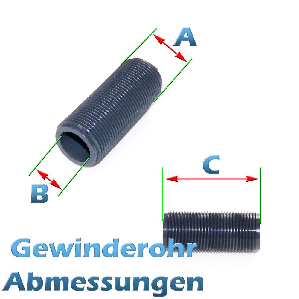 G 1 1//2 Zoll x 80mm Gewinderohr PVC Kunststoff
