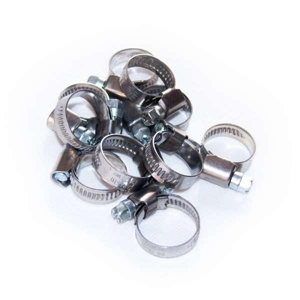 Set mit W2 Schellen für Schlauch von 12 bis 22 mm Durchmesser
