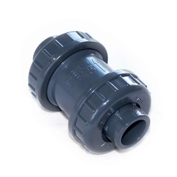 VDL Rückschlagventil aus PVC-U mit beidseitig 20 mm Klebemuffen (Innendurchmesser) und Feder