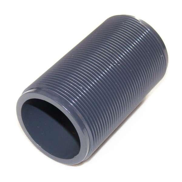 Gewinderohr G 2 Zoll x 100mm Länge aus PVC Kunststoff für Tankdurchführungen