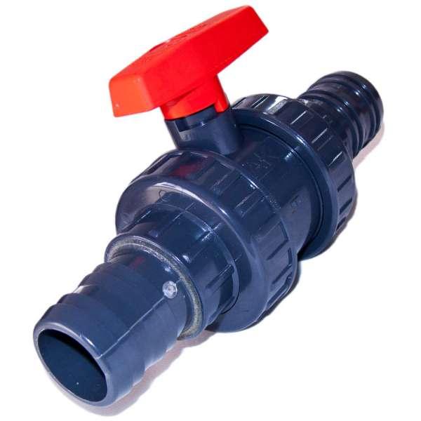 Kugelhahn mit 50 mm Schlauchanschlüssen aus PVC-U