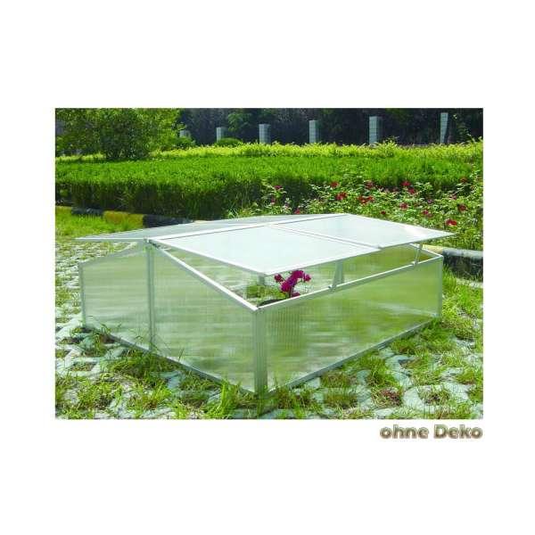 Doppeltes Frühbeet C304 mit geteilten Deckeln aus Aluminium und Hohlkammerplatten auch für Schildkröten